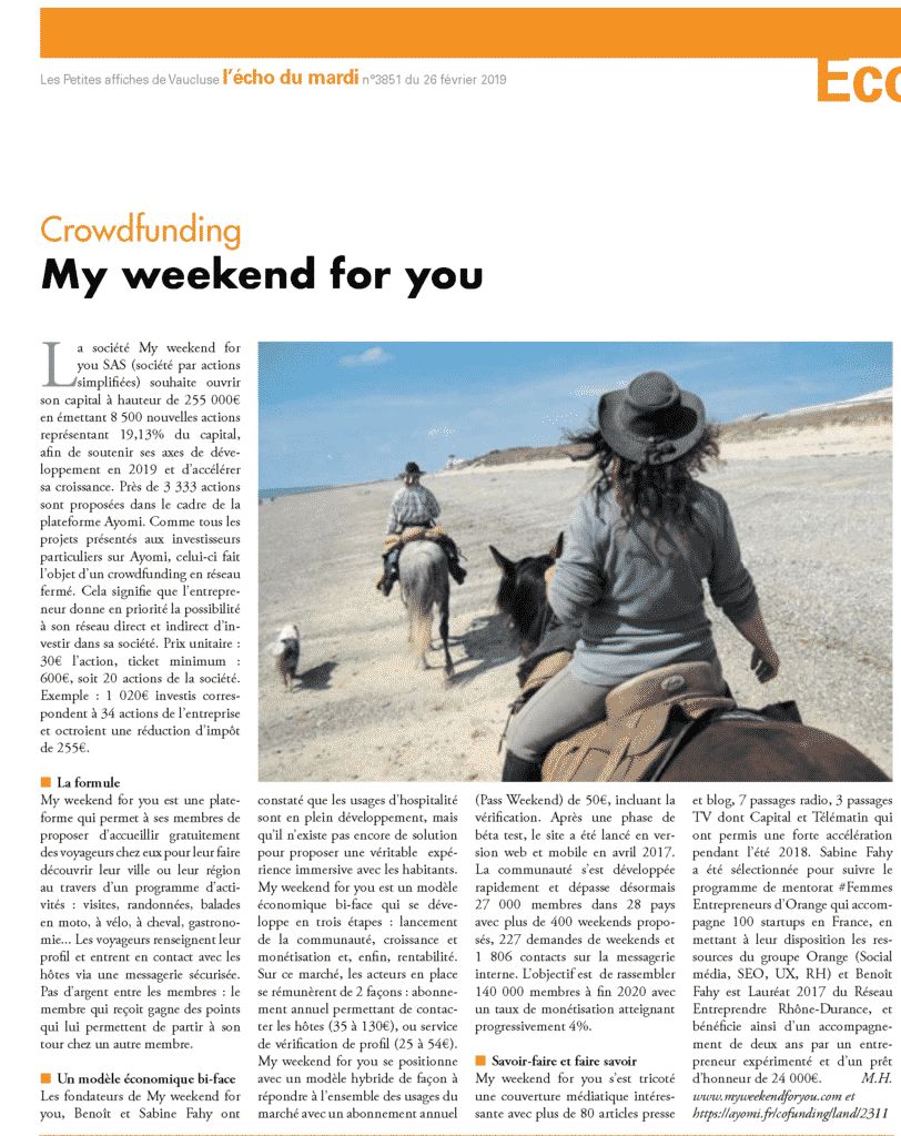 My weekend for you - Crowdfunding